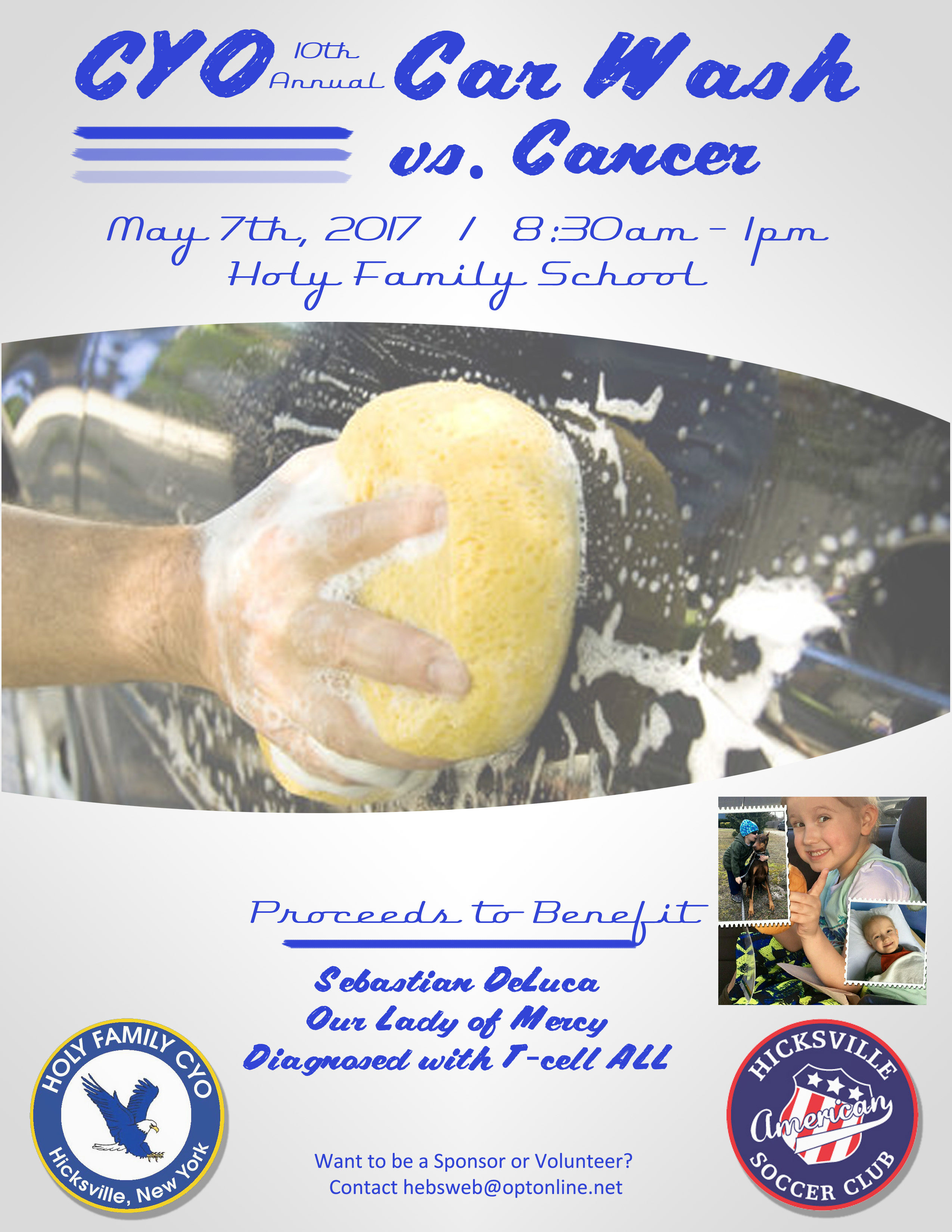 Holy Family CYO and HASC Car Wash vs Cancer May 7th 8:30-1pm